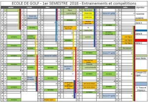 Planning Ecole de golf 2ème semestre